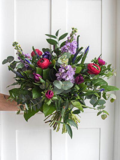 fresh bouquet of spring flowers, eucalyptus and greenery